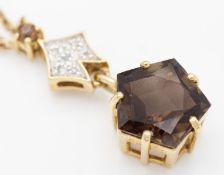 9ct Gold Diamond and Smokey Quartz Pendant & Necklace