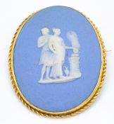 Antique 18ct Gold Mounted Wedgwood Brooch Pin