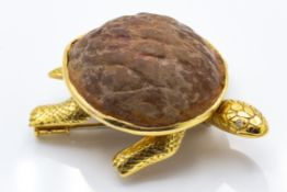 A French 18ct Gold & Diamond Novelty Turtle Brooch Clip