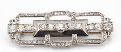 A French Art Deco Platinum 18ct Gold Diamond Plaque Brooch