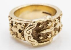 Large Heavy Set 9ct Gold Hallmarked Buckle Ring