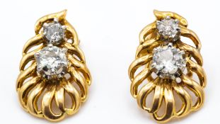 A Pair of French 18ct Gold Platinum & Diamond Ear Clips