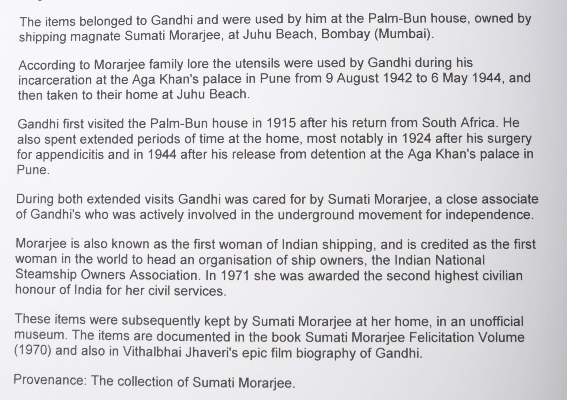 MAHATMA GANDHI - GANDHI'S PERSONALLY USED CUTLERY & BOWL - Image 8 of 9
