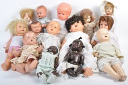 ASSORTMENT OF VINTAGE CELLULOID AND BISQUE HEADED DOLLS