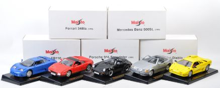 COLLECTION OF X5 MAISTO 1/18 SCALE DIECAST MODEL SPORTS CARS