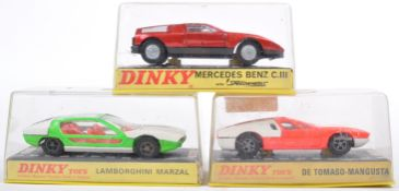 COLLECTION OF X3 VINTAGE DINKY TOYS DIECAST SPORTS CARS