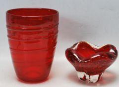 PAIR OF VINTAGE 1960S WHITEFRIARS RUBY ART GLASS VASES.