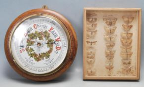 EARLY 20TH MAHOGANY CASED BAROMETER AND COLLECTION OF 1916 MOTHS
