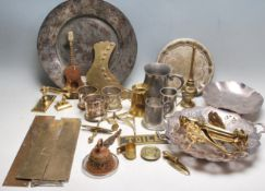 COLLECTION OF SILVER PLATE BRASS & PEWTER ITEMS