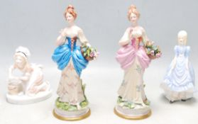 TWO 20TH CENTURY CAPODIMONTE CERAMIC FIGURINES AND TWO OTHERS CERAMIC FIGURINES