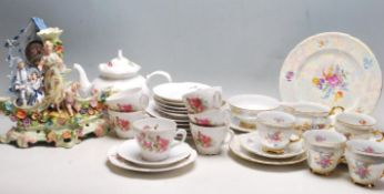 TWO VINTAGE LATE 20TH CENTURY FLORAL CHINA TEA SETS