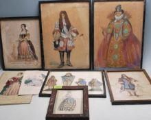 GROUP OF ANTIQUE COSTUME RELATED PICTURES