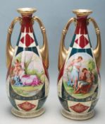 PAIR OF ROYAL VIENNA TWIN HANDLED MANTEL VASES