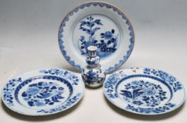 COLLECTION OF THREE 18TH CENTURY CHINESE PLATES TOGETHER WITH A VASE