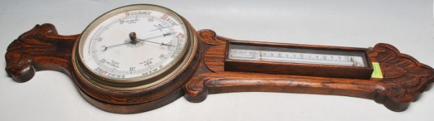 20TH CENTURY OAK ANEROID BAROMETER & THERMOMETER