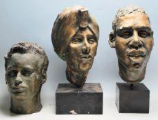 GROUP OF THREE 20TH CETURY MYRTLE GOULDEN HEAD STUDIES IN PLASTER
