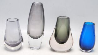 FOUR RETRO VINTAGE 20TH CETURY WHITEFRIARS TEARDROP STUDIO ART GLASS VASES