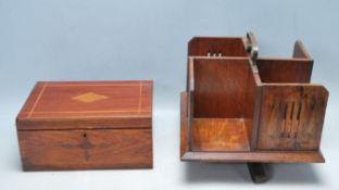 ANTIQUE EARLY 20TH CENTURY OAK DESK TOP REVOLVING BOOKCASE