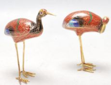 TWO 20TH CENTURY CHINESE ORIENTAL CLOISONNE CRANES