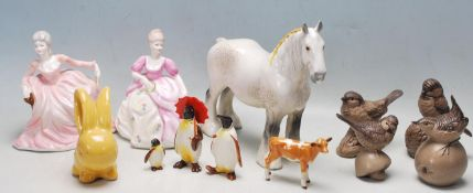 GROUP OF 20TH CENTURY BESWICK, POOLE, COALPORT ANIMAL FIGURINES