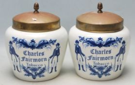 TWO LATE 19TH CENTURY DELFT BLAUW XENITH GOUDA TOBACCO JARS