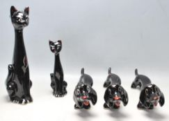COLLECTION OF ITALIAN CERAMIC FIGURINES OF STYLISED CATS AND DOGS