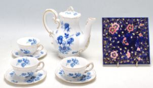 19TH CENTURY VICTORIAN ZSONLNAY BLUE CERAMIC TILE AND TEA SET
