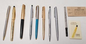 COLLECTION OF VINTAGE FOUNTAIN PENS TO INCLUDE PARKER, CROSS AND MORE