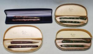COLLECTION OF VINTAGE 14CT GOLD FOUNTAIN PENS BY BURNHAM OF LONDON