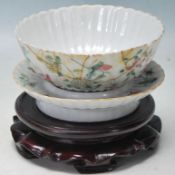 ANTIQUE 19TH CENTURY CHINESE FAMILLE ROSE BOWL DISH ON STAND