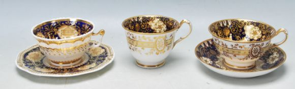 GROUP OF FIVE 19TH CENTURY VICTORIAN CABINET CUPS AND SAUCERS