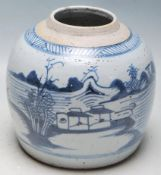 EARLY 18TH CENTURY CHINESE BLUE AND WHITE GINGER JAR