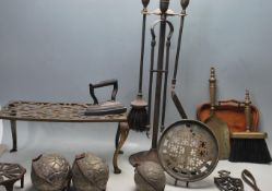 COLLECTION OF EARLY 20TH CENTURY BRASS FIRESIDE WARE