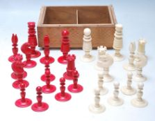 GROUP OF 19TH CENTURY VICTORIAN SATIN IVORY CHESS PIECES