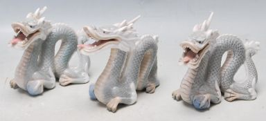 THREE VINTAGE CHINESE ORIENTAL CERAMIC PORCELAIN DRAGONS