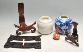 GROUP OF 20TH CENTURY CHINESE ORIENTAL CERAMIC AND HARD WOOD ITEMS