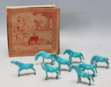 EIGHT 20TH CENTURY CHINESE ORIENTAL CERAMIC HORSE FIGURINES