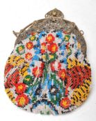 EARLY 20TH CENTURY BEADED LADIES PURSE WITH BEADED FLORAL DESIGN