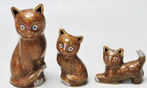 SET OF THREE JAPANESE CLOISONNE ENAMELLED CATS