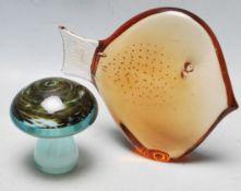 TWO RETRO 20TH CENTURY STUDIO ART GLASS PAPERWEIGHTS