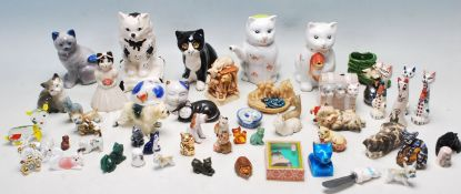 LARGE QUANTITY COLLECTION OF CATS ORNAMENTS AND FIGURINES
