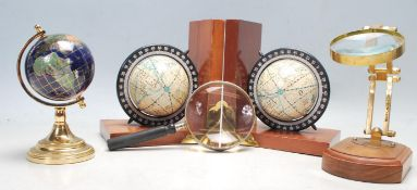VINTAGE RETRO 20TH CENTURY DESK TOP GLOBES AND MAGNIFYING GLASSES