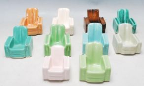 NINE 1930'S ART DECO CERAMIC ARMCHAIR PIPE STANDS / ASHTRAY
