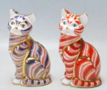 TWO ROYAL CROWN DERBY IMARI CAT PAPERWEIGHTS