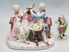 ANTIQUE 19TH CENTURY MEISSEN PORCELAIN FIGURINE TOGETHER WITH A GERMAN FIGURINE OF A COURTING COUPLE