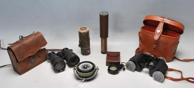 20TH CENTURY MERIDIAN NAVAL COMPASS, TOGETHER WITH BINOCULARS AND SPYGLASS.