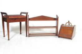 COLLECTION OF ANTIQUE MAHOGANY COMPRISING OF SHELV
