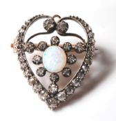 ANTIQUE OPAL AND DIAMOND HEART BROOCH