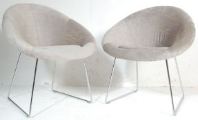 TWO RETRO 20TH CENTURY DANISH INSPIRED TUB CHAIR /