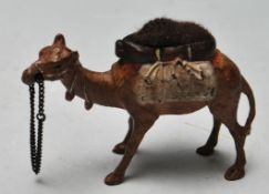 COLD PAINTED BRONZE CAMEL PIN CUSHION